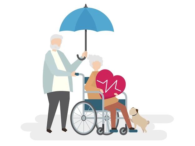 Illustration de personnes âgées avec assurance vie Vecteur gratuit
