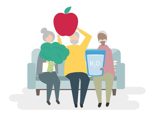 Illustration de personnes âgées en bonne santé Vecteur gratuit