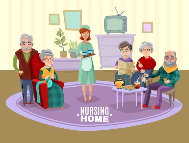 Illustration de personnes âgées en soins infirmiers Vecteur gratuit