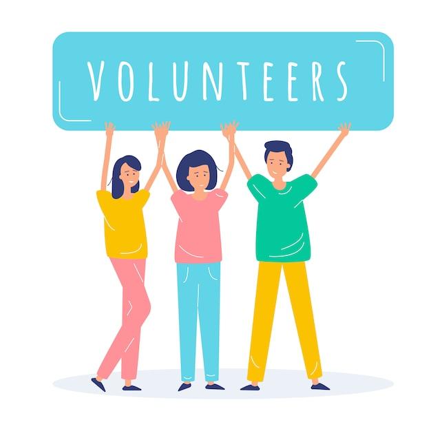 Illustration de personnes bénévoles Vecteur Premium