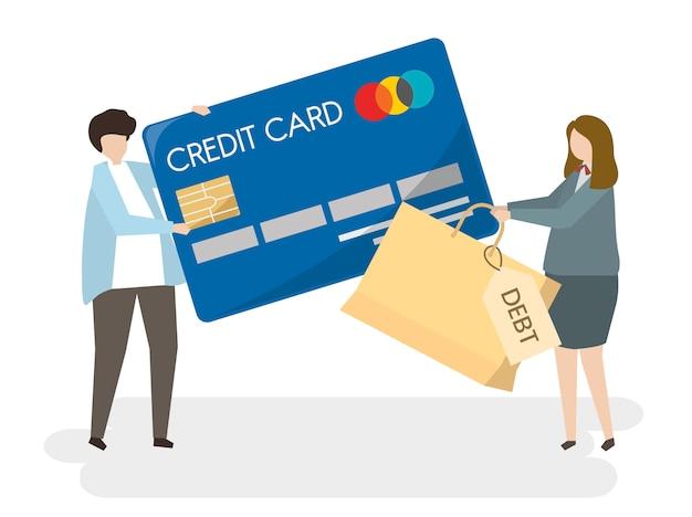 Illustration sur les personnes avec une carte de crédit Vecteur gratuit