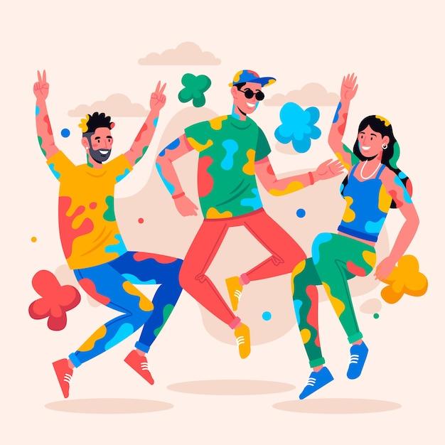 Illustration De Personnes Célébrant Ensemble Le Festival Holi Vecteur gratuit