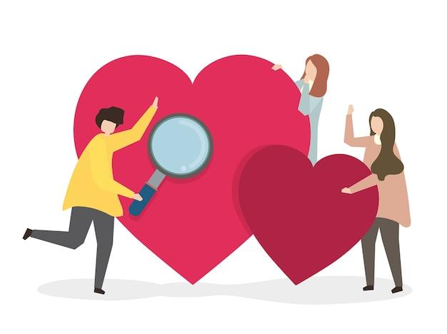 Illustration de personnes cherchant l'amour Vecteur gratuit