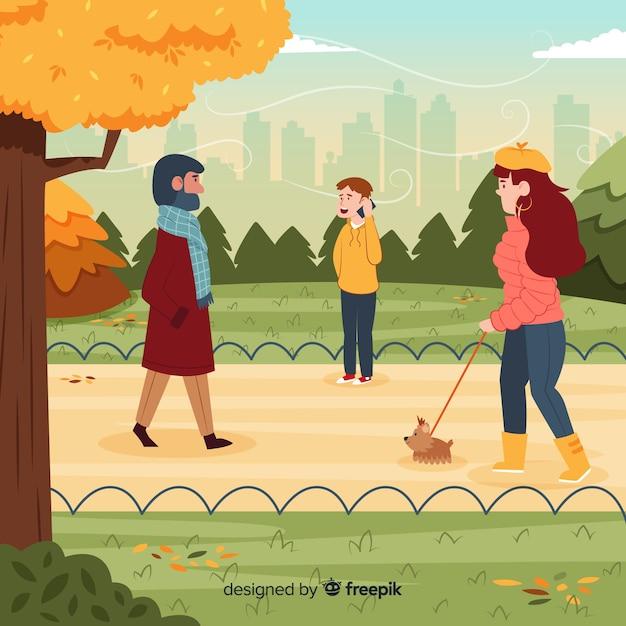 Illustration de personnes dans le parc en automne Vecteur gratuit