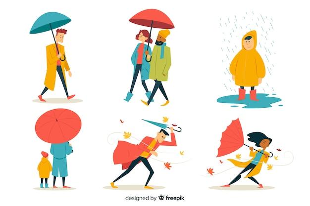 Illustration de personnes marchant en automne Vecteur gratuit
