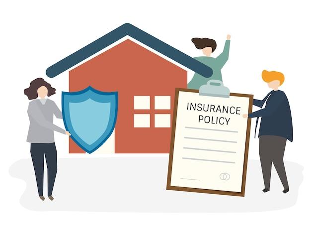 Illustration de personnes avec police d'assurance Vecteur gratuit