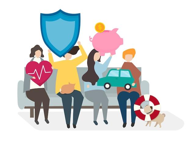 Illustration de personnes avec des polices d'assurance Vecteur gratuit
