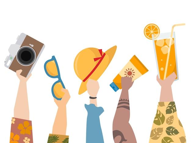 Illustration de personnes profitant de l'été Vecteur gratuit