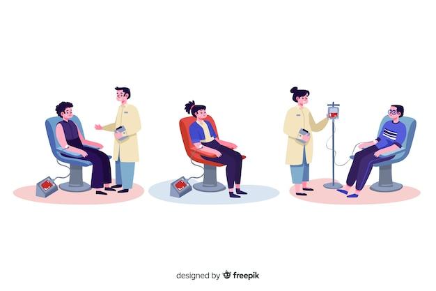 Illustration de personnes qui donnent du sang Vecteur gratuit