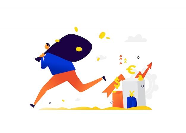Illustration D'un Petit Homme S'enfuyant Avec Des Revenus D'investisseurs. Vecteur Premium