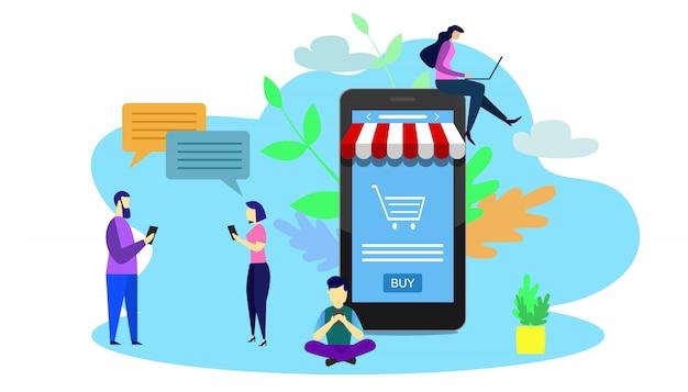 Illustration De Petites Personnes Utilisant Un Téléphone Intelligent. Concept De Boutique En Ligne. Vecteur Premium