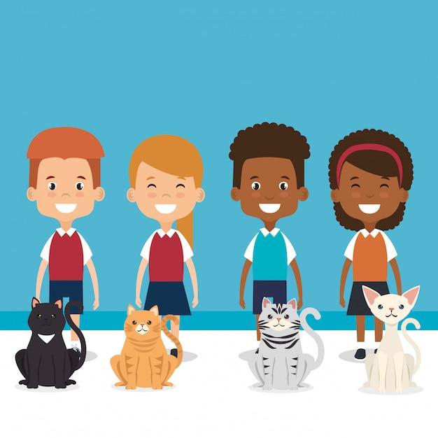 Illustration de petits enfants avec des personnages d'animaux domestiques Vecteur gratuit