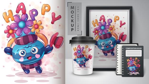 Illustration de pichet heureux et merchandising Vecteur Premium