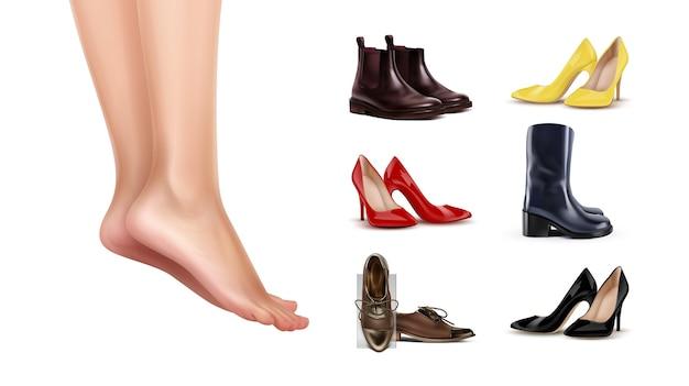 Illustration De Pieds Féminins Debout Sur Les Orteils Et Collection De Chaussures Différentes Sur Fond Blanc Vecteur Premium