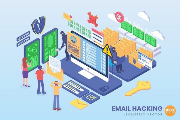 Illustration De Piratage D'email Isométrique Vecteur Premium