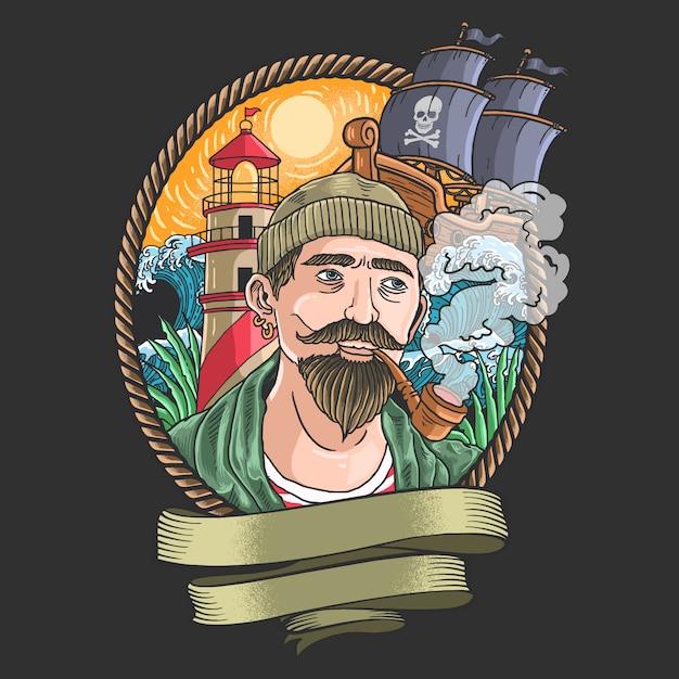 Illustration De Pirates Fumant Avec Des Vagues Et Des Bateaux Pirates En Arrière-plan Vecteur Premium