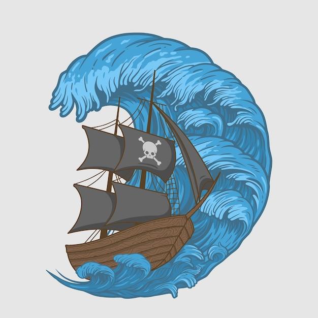 Illustration Pirates Navire Dans Les Vagues Vecteur Premium