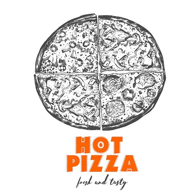 Illustration de la pizza. Vecteur Premium