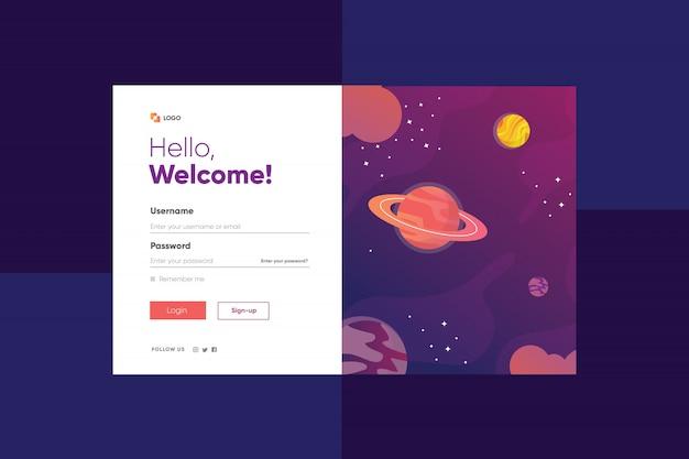Illustration D'une Planète Aléatoire Et D'une Galaxie D'étoiles Avec Une Page De Connexion Vecteur Premium