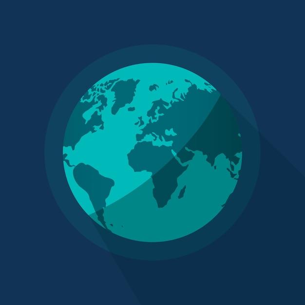 Illustration De Planète Globe Terrestre Sur Fond D'espace Bleu Vecteur Premium