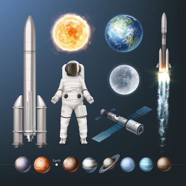 Illustration De Planètes De Collection De Vaisseau Spatial De Combinaison Spatiale Du Système Solaire Et De Terre Solaire Vecteur Premium