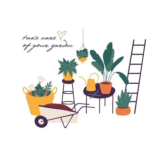 Illustration Plantes Dans La Collection De Pots. Lot D'outils De Jardinage Et De Plantes. Concept De Jardinage Domestique. Vecteur Premium