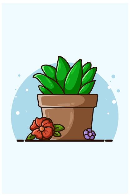 Illustration De Plantes Ornementales Et De Fleurs Vecteur Premium