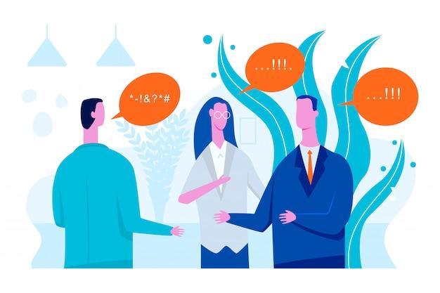 Illustration de plat concept interprète vectorielle avec traducteur homme et femme. Vecteur Premium