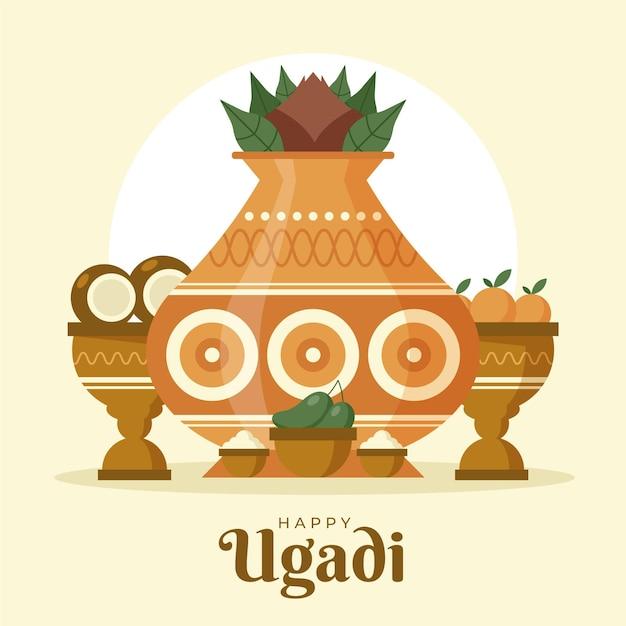 Illustration De Plat Heureux Ugadi Vecteur Premium