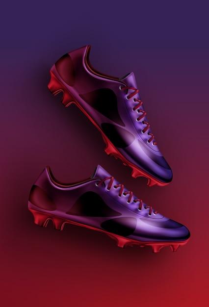 Illustration Plat Laïc De Chaussures De Football De Football Dans Des Couleurs Violettes, Violettes Et Rouges Isolées Sur Fond Dégradé Vecteur Premium