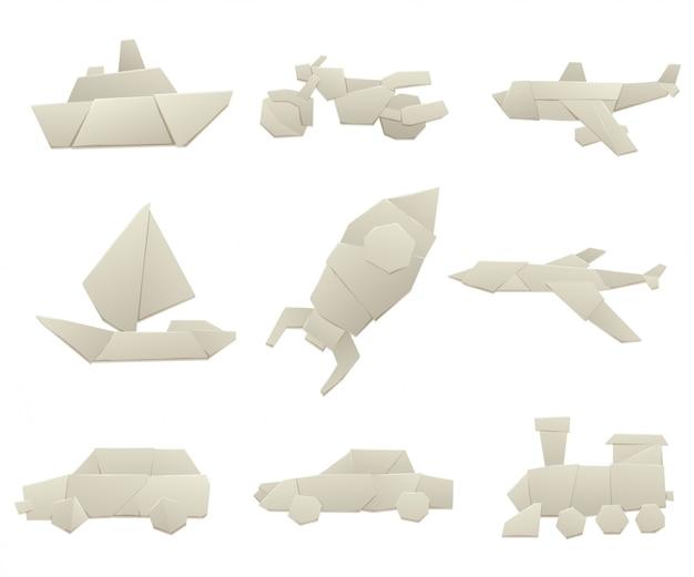 Illustration de plat originale de collection origami transport. Vecteur Premium