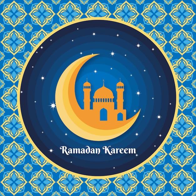 Illustration De Plat Ramadan Kareem Vecteur gratuit