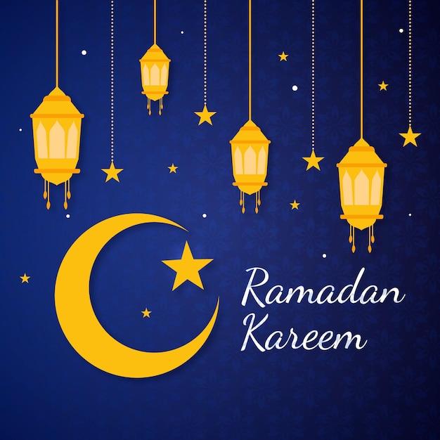 Illustration De Plat Ramadan Kareem Vecteur Premium