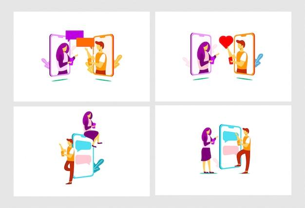 Illustration plat de relation mobile Vecteur Premium