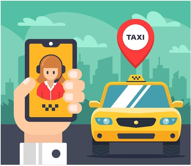 Illustration plate d'une commande de taxi. voiture étiquetée. la main tient le téléphone et parle avec l'opérateur de taxi. Vecteur Premium