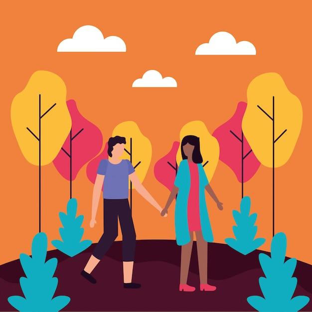 Illustration plate de couple activités romantiques Vecteur gratuit