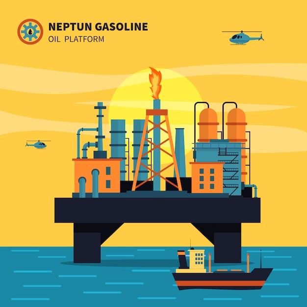 Illustration de la plate-forme pétrolière Vecteur gratuit