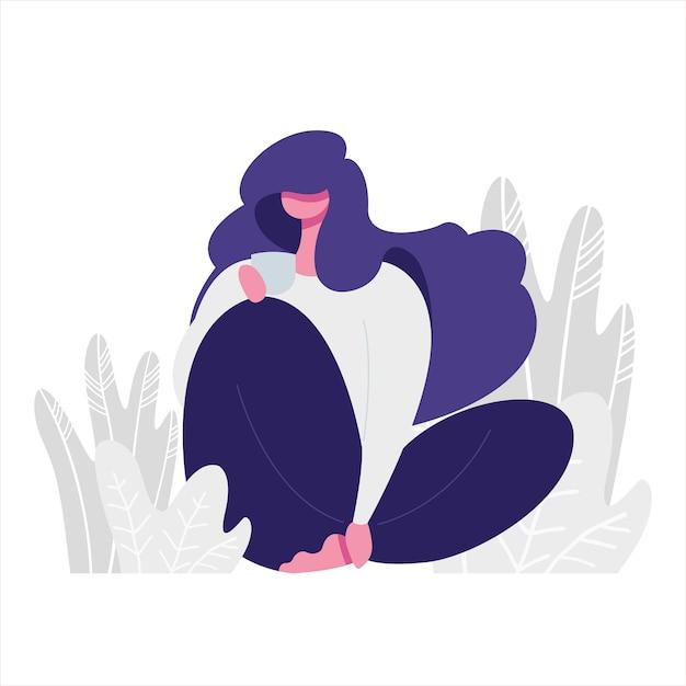Illustration Plate D'une Jeune Fille Tenant Une Tasse. Thème De Relaxation Et D'amour De Soi. Vecteur Premium