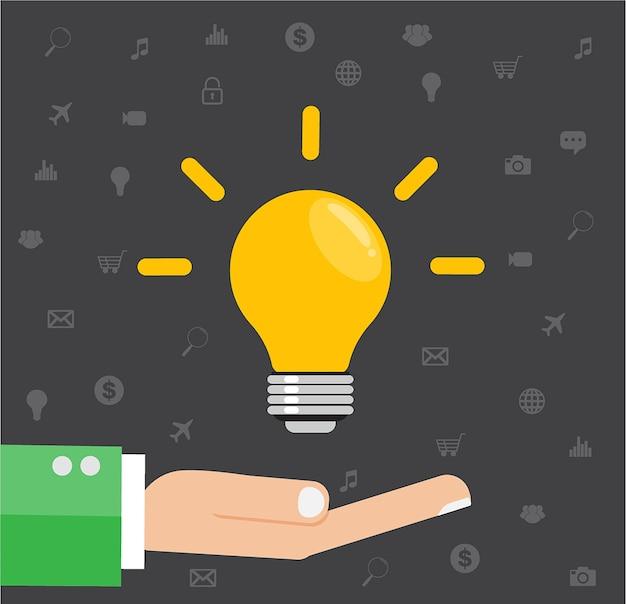 Illustration plate d'une main tenant une ampoule idée. Vecteur Premium
