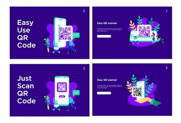 Illustration plate qr code Vecteur Premium