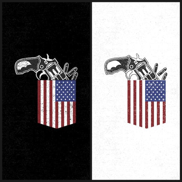 Illustration poche et revolver américain Vecteur Premium