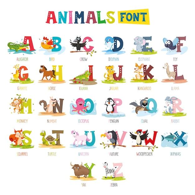 Illustration de la police animaux de dessin animé Vecteur Premium