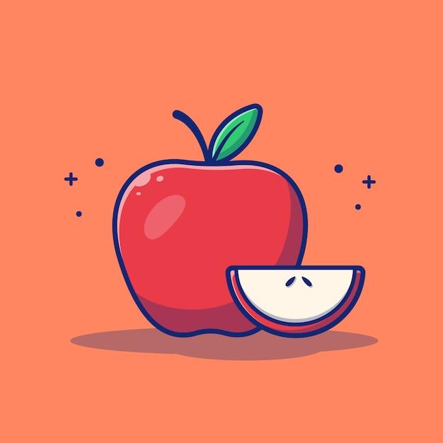 Illustration De Pomme Fruit. Pomme Et Tranches De Pomme. Vecteur Premium
