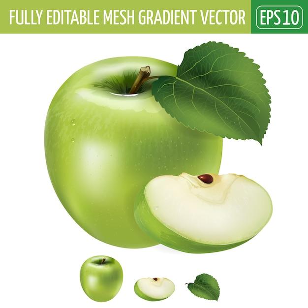 Illustration De Pomme Verte Sur Blanc Vecteur Premium
