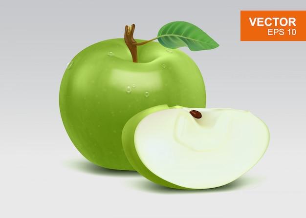 Illustration De Pommes Vertes Réalistes élevées Vecteur Premium