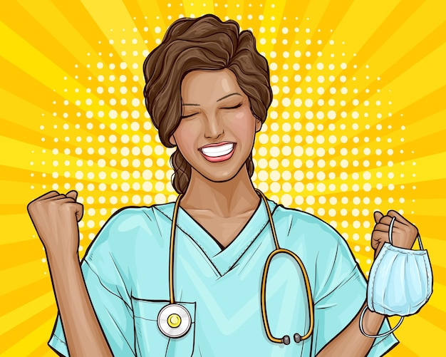 L'illustration Pop Art Du Médecin Est Heureuse, Le Virus Est Vaincu. Jeune Femme Afro-américaine A Enlevé Un Masque Médical, Fin De L'épidémie. L'invention De La Médecine, Des Vaccins, Du Traitement De La Maladie. Vecteur gratuit