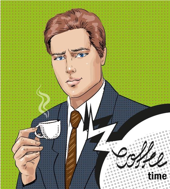 Illustration pop art d'homme avec une tasse de café Vecteur Premium
