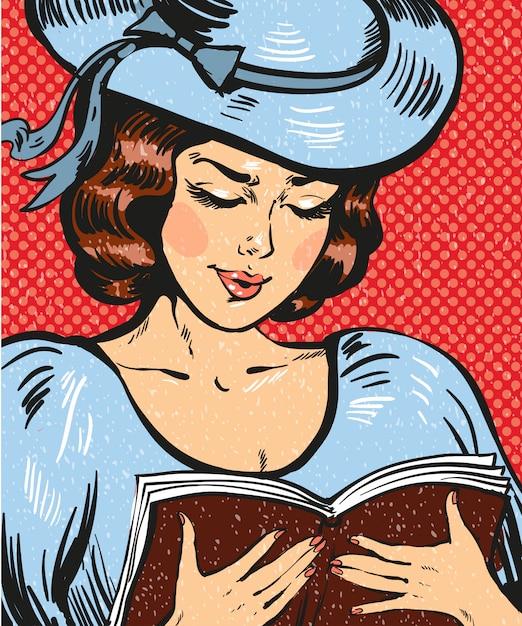 Illustration de pop art de livre de lecture de jeune femme Vecteur Premium