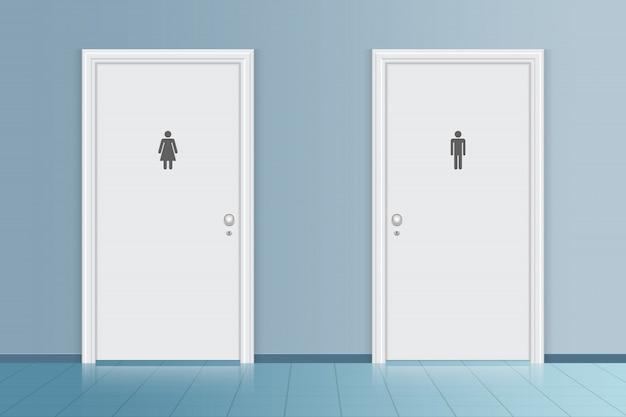 Illustration De Porte De Toilette De Salle De Bain Vecteur Premium