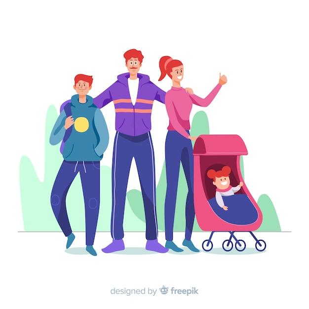 Illustration de portrait de famille dessiné à la main Vecteur gratuit